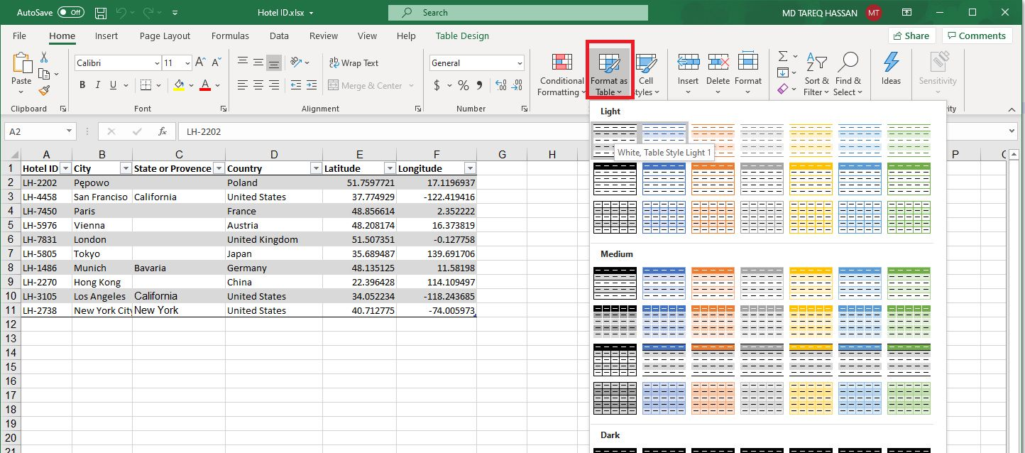 Creating List from Excel Step 1
